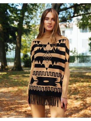 LUPETTO NECK PONCHO WITH TRIBAL MOTIFS